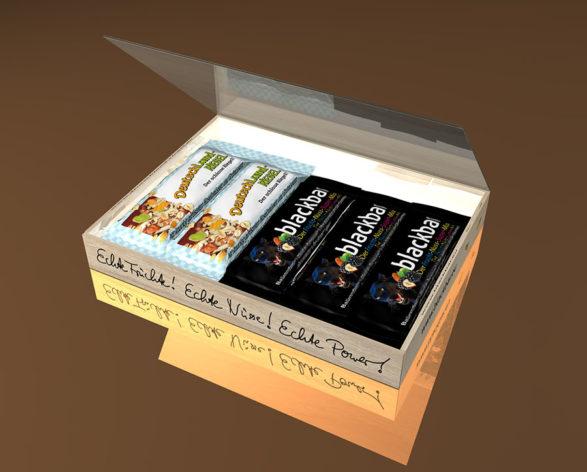 DeutschLand-Riegel, blackbar, in einer kleinen Box, Tray, Faltschachtel, Paket, Päckchen, zum Bestellen, gemischter Inhalt