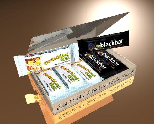 Riegel, Geschenk-Box, 10 Stück, 10-er, Geschenk, gemischt, sortiert, Auswahl, Verpackung,Verpackungseinheit, DeutschLand-Riegel, Der schlaue Riegel, Riegel mit Nüssen, Haselnüsse, Erdnüsse, Trauben, pflanzlichen Proteinen, Kakao, Molke, Magermilch, Molkeprotein, Cornflakes, Sojaprotein, Der Riegel vom Lande, in Kakaohülle, knackige Proteinquelle, natürlich, Ballaststoffquelle, ohne Palmfett, mit Leinsamen, Leinsaaten, Sonnenblumenkerne, Riegel, Verpackung,Verpackungseinheit, blackbar, Frucht-Nuss-Riegel, Frucht, fruchtig, Brombeeren, Apfel, Äpfel getrocknet, Ahornsirup, Riegel mit Nüssen, Mandeln, Haselnüssen, Haselnusssplitter, geröstet, Trauben, pflanzlichen Proteinen, Kakao, Cornflakes, Sojaprotein, Der Riegel vom Lande, knackige Proteinquelle, natürlich, Ballaststoffquelle, ohne Palmfett, Vegan