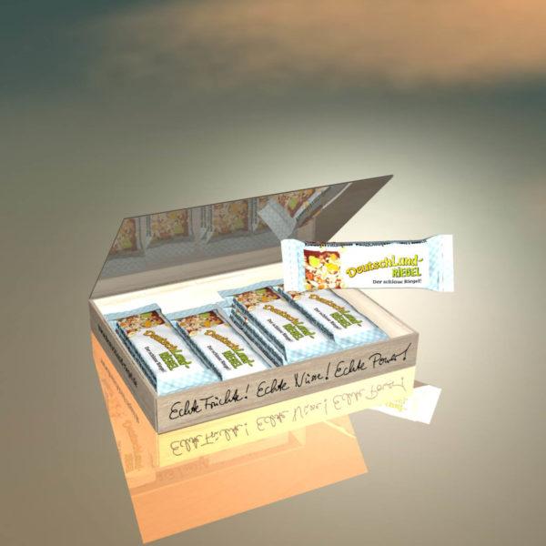Riegel, Geschenk-Box, 8 Stück, 8-er, Geschenk, Verpackung,Verpackungseinheit, DeutschLand-Riegel, Der schlaue Riegel, Riegel mit Nüssen, Haselnüsse, Erdnüsse, Trauben, pflanzlichen Proteinen, Kakao, Molke, Magermilch, Molkeprotein, Cornflakes, Sojaprotein, Der Riegel vom Lande, in Kakaohülle, knackige Proteinquelle, natürlich, Ballaststoffquelle, ohne Palmfett, mit Leinsamen, Leinsaaten, Sonnenblumenkerne