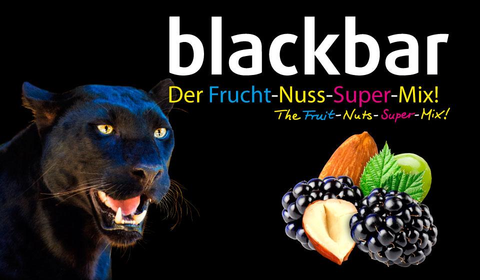 blackbar, Der Frucht-Nuss-Super-Mix!, vegan, Riegel zum Essen, Fruchtriegel mit Power, Energie, ohne Zuckerzusatz, natürlich, mit Brombeeren, Äpfeln, Apfel, Mandeln, Haselnüssen, Haselnuss, Trauben, Datteln, Dattelpaste, rech an natürlichen wertvollen Inhaltsstoffen, der Riegel mit dem schwarzen Panther