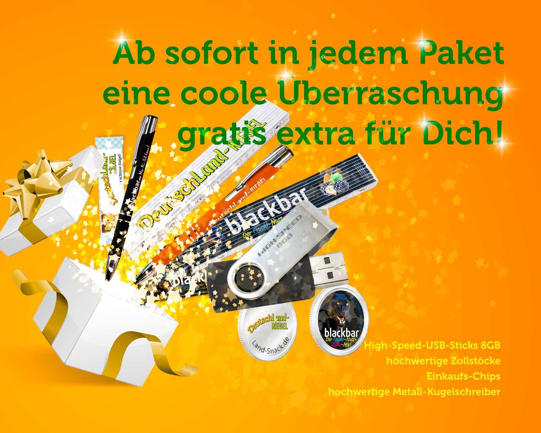 Ab sofort findest du in jedem Paket eine coole Überraschung gratis extra für Dich! High-Speed-USB-Sticks 8GB, hochwertige Zollstöcke aus Holz (lackiert), Einkaufs-Chips (Chips für Einkaufswagen) und hochwertige Metall-Kugelschreiber.